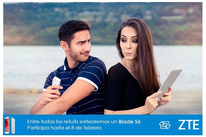 #Sorteo Tu pareja dice que pasas mucho tiempo con el móvil...  Haz RT, gana un Blade S6 y dale la razón ;-) https://t.co/VwuZf5KY1n