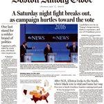 Sunday Boston Globe front image: Jeb staring down Trump. Marco ducking him. https://t.co/S3mdeMhjhX
