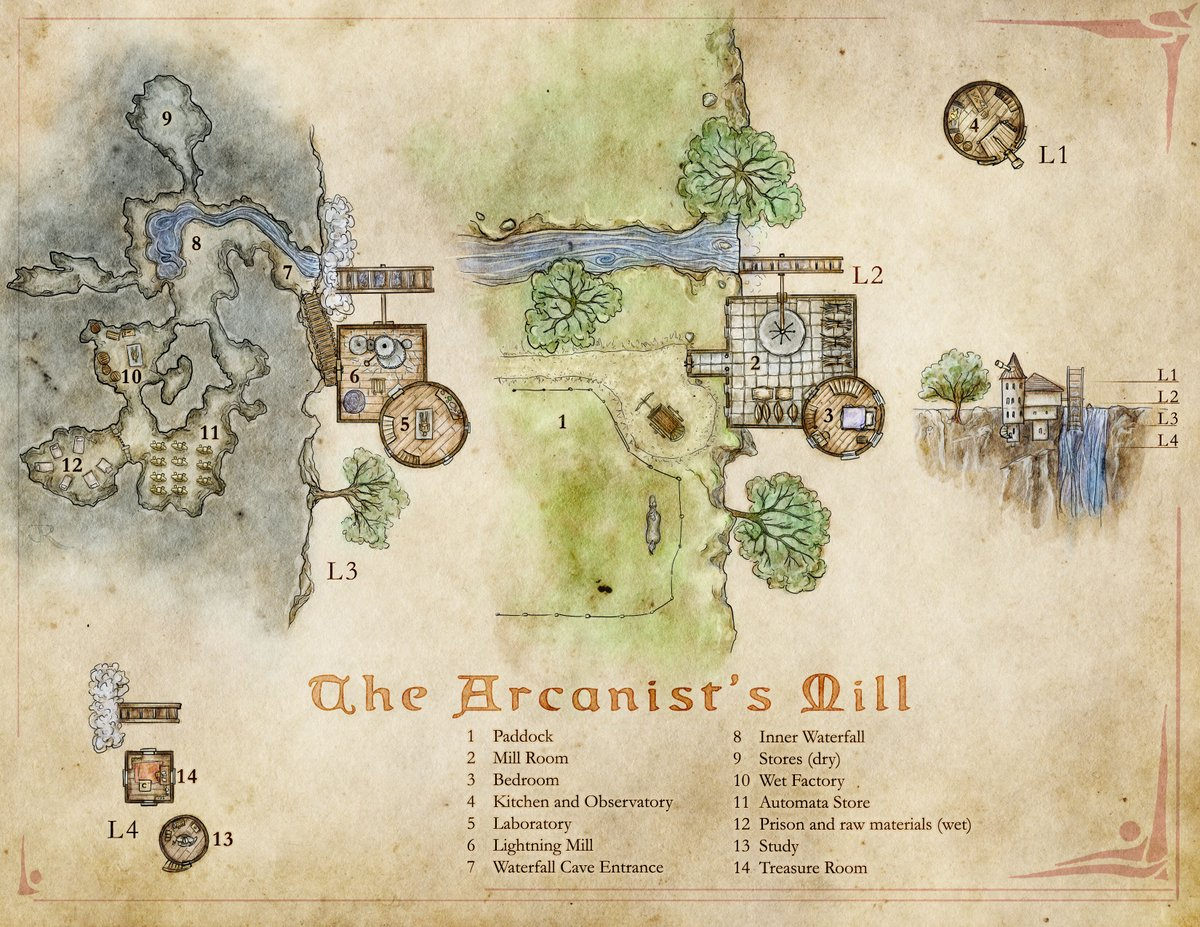 The Arcanist's Mill - a wizards tower with a twist. Full map (labeled & unlabeled) here: https://t.co/C407tB5pei https://t.co/zDddsHQIEg