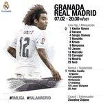 ¡Este es nuestro once inicial frente al Granada! 📝  #RMLiga #HalaMadrid https://t.co/OVRqmmd16p