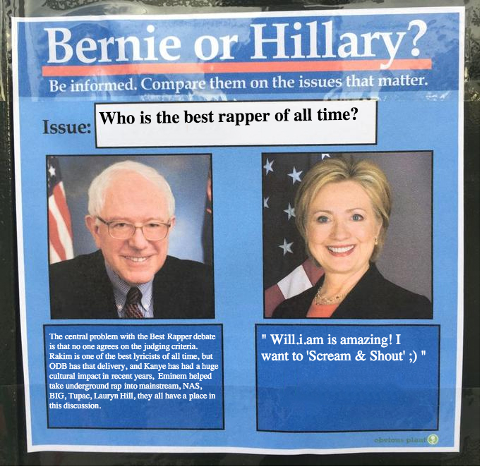 #Bernie and #Hillary on the issues: Who is the #bestrapper of all time? https://t.co/YuOEOmQJAV
