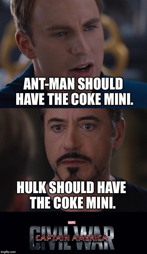 Now we know what Captain America Civil War is REALLY about! #CokeMini #SB50 #SuperBowlSunday #TeamCap #TeamIronMan https://t.co/l7Lk883I33