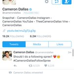 LIKE if you want a follow from @camerondallas ! going to be dming users to him! mfb #CameronDallasFollowSpree https://t.co/ofPg49xHcv