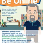 Meadows Community Centre #Cambridge free computer drop-in session Tuesdays & Fridays 10-12 #BeOnline16 https://t.co/l7xoDggGgg