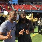 14 years later, two LA-Lafayette CBs @peanuttillman & @Ike_SwagginU reunite on the SB50 field. https://t.co/gOu0dB6fZw