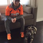 Zoey and I were ready to go this morning for our morning bike ride #GoBroncos https://t.co/6ykVWfyYMz