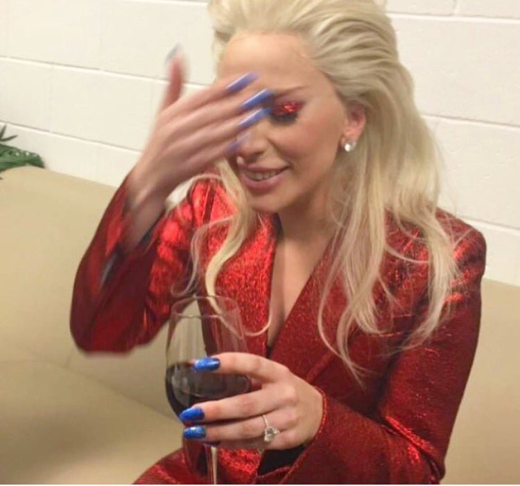 A well deserved glass of wine for @ladygaga after performing at #SB50