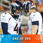 END OF THIRD: The #Broncos are one quarter away from being #SB50 champs! https://t.co/XVMCozvU5j