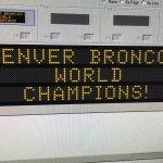 Our team is changing the signs over Pena Blvd. tonight... #SB50 #UnitedinOrange #WorldChamps @Broncos https://t.co/SDAsEWCuRv