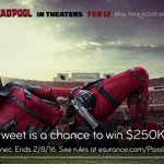 Catch @deadpoolmovie in our post-game commercial? RT now for your chance to catch $250K! #EsuranceSweepstakes #SB50 https://t.co/lzH9D4WpKx