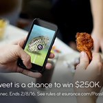 Wipe the wing sauce off your hands & RT now because you could win $250K! #EsuranceSweepstakes #SB50 https://t.co/lm76bj4aMR