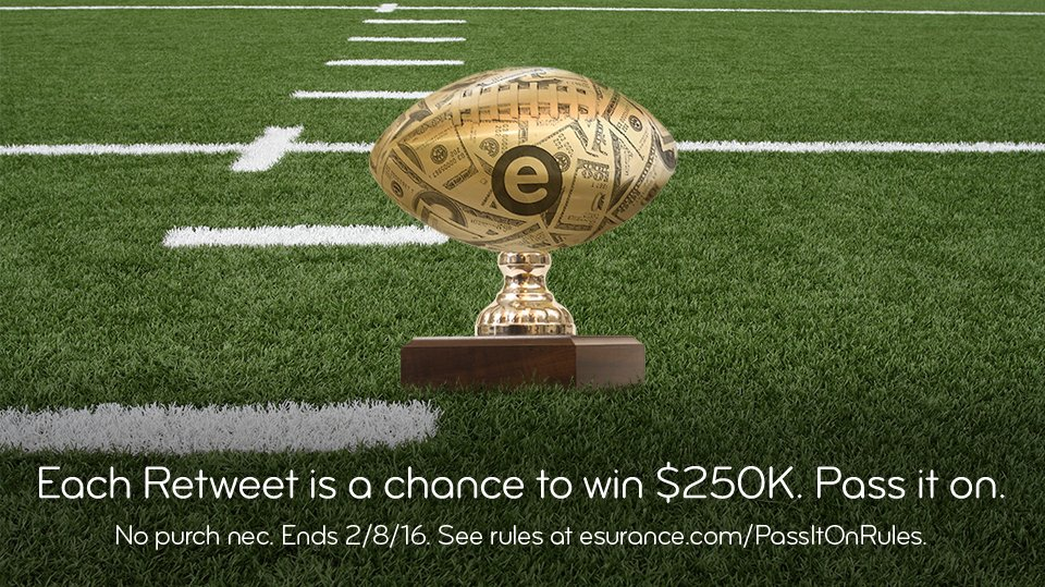 The trophy's been awarded, but we still have $250K to give away. #EsuranceSweepstakes #SB50 https://t.co/FdAfQ84q1O