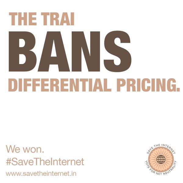 TRAI's ban on differential pricing is effective immediately! #zerorating #netneutrality https://t.co/APOqTF0Gy8