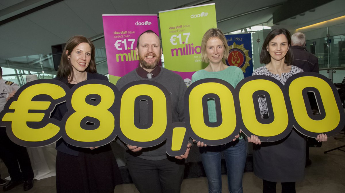 .@DublinAirport colleagues present @Temple_Street with fundraising cheque for €80,000