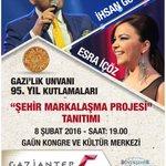 @GaziantepBeld marka lansmanının da gerçekleştirileceği Gazilik ünvanı kutlamaları konserine tüm halkımız davetlidir https://t.co/YISll3oN2F