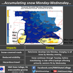 A prolonged period of light to moderate snow will develop late today and continue tonight through Tues. #ctpwx https://t.co/GrbVPHF8cz