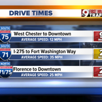 Drive Times at 8:30 - Accident 75 S at Vine Street has 2 lanes blocked, causing a 75 minute delay! @WCPO #9Traffic https://t.co/Gpf3W3aLk3