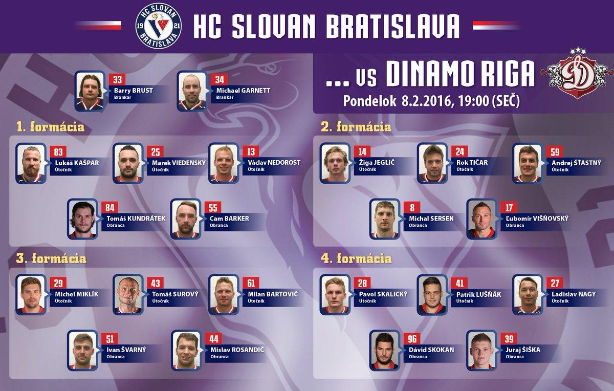 It's time for #hcslovan lineup. #hcslovan #VerniSlovanu @khl @hcDINAMORIGA https://t.co/6mMqAKqBrn