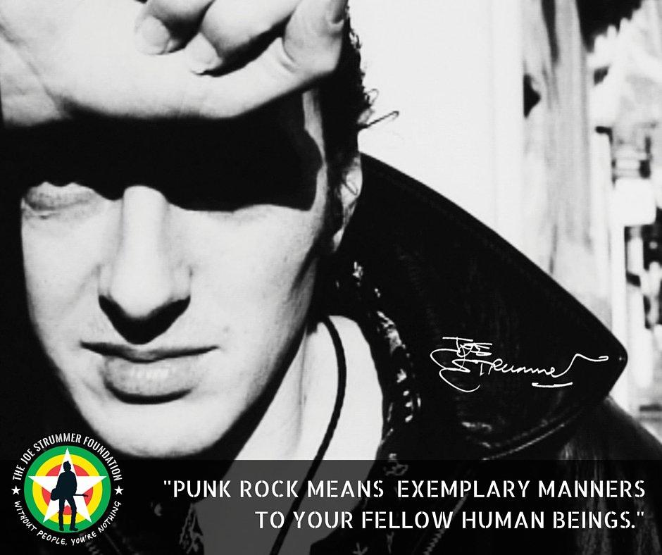 """""""PUNK ROCK MEANS EXEMPLARY MANNERS TO YOUR FELLOW HUMAN BEINGS"""" - Joe Strummer (@_strummerville) https://t.co/b3vgCG9RD7"""