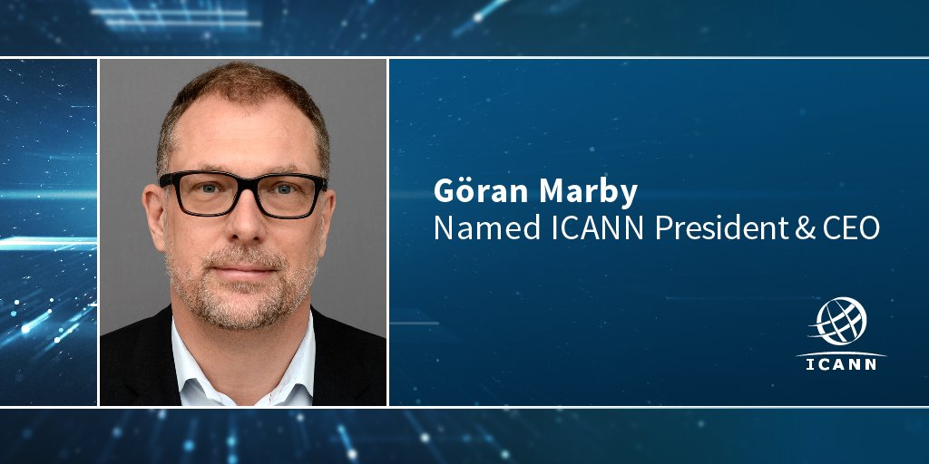 Göran Marby named #ICANN President & CEO, starts May 2016, based @ L.A. HQ. Read more > https://t.co/7lJmzKFA9D https://t.co/o2L7rHuVCt