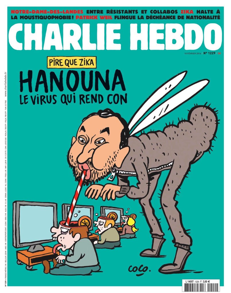 "Cyril Hanouna ""le virus qui rend con"" à la Une de #CharlieHebdo demain https://t.co/XLjU1VAsDH"