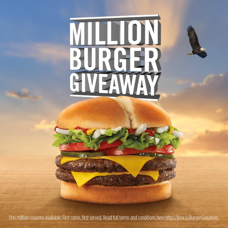 Jack is giving away ONE MILLION burgers. It's a #DeclarationOfDelicious. Claim yours https://t.co/VTdMVVWHWm https://t.co/AIYUsfWgSx