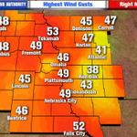 Some of the highest wind gusts today. Tekamah & Falls City over 50 mph. Some spots in Iowa, over 60 mph! https://t.co/IUOLPINWmF
