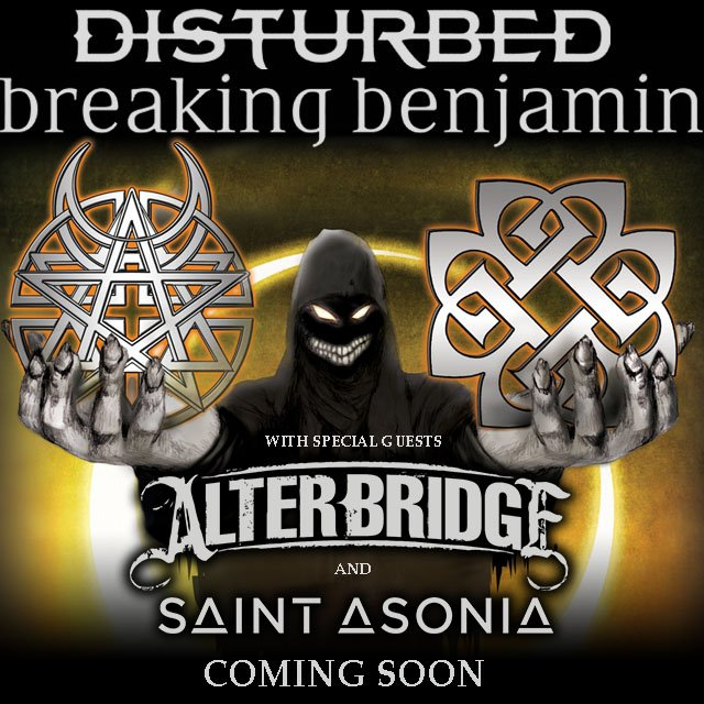 Disturbed & @breakingbenj North American Tour 2016 w/ special guests @alterbridge & @saintasonia. Dates & info soon! https://t.co/NNwnXNglAc