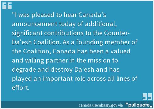 Statement by Amb @BruceAHeyman on Canada's announced Counter-Da'esh contribution: https://t.co/a2kn7ZZkKK https://t.co/AmUWeDVGeK