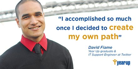 There are many paths to success. #MondayMotivation feat. @YearUpBayArea grad and @twitter employee, David Fiame. https://t.co/jZVEFff2cK