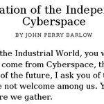 20 years ago, the internet declared independence. Today, government threatens its first war. https://t.co/WvYPkLrK1j https://t.co/9DJQtsw2PO