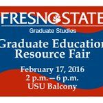 Learn more about @Fresno_State Graduate Programs at the Graduate Education Resource Fair 2/17, 2PM-6PM, USU Balcony. https://t.co/TGkkeAt44R