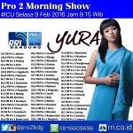 ICU pagi ini jam 11.15 Wit ada @yurayunita #YuraDiPro2FM https://t.co/8MHVhoLJ0f