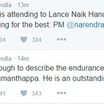 No words are enough to describe indomitable spirit of Lance Naik Hanumanthappa. PM @narendramodi on #SiachenMiracle https://t.co/WD0vnUH7Fg