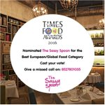Sassy News Alert! Call 8527801035 and get us to win the Times Food and Nightlife Awards 2015! #Mumbai #TheSassySpoon https://t.co/dihZTnhRyk