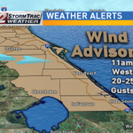 Wind Advisory issued for #TreasureCoast & central #FL. Winds from the west today 20-25mph, with gusts to 40 possible https://t.co/BaQlaH5AaS