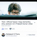 Seems #Theri Teaser is unstoppable, 5M+ with 230K Likes........ #TherikkaVittachu https://t.co/PDN23ccwLK