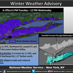"Winter Weather Advisory beginning 6pm tonight. 3-6"" of snow LI, NYC, much of NE NJ, less to the north. https://t.co/VK19Osd8Rt"