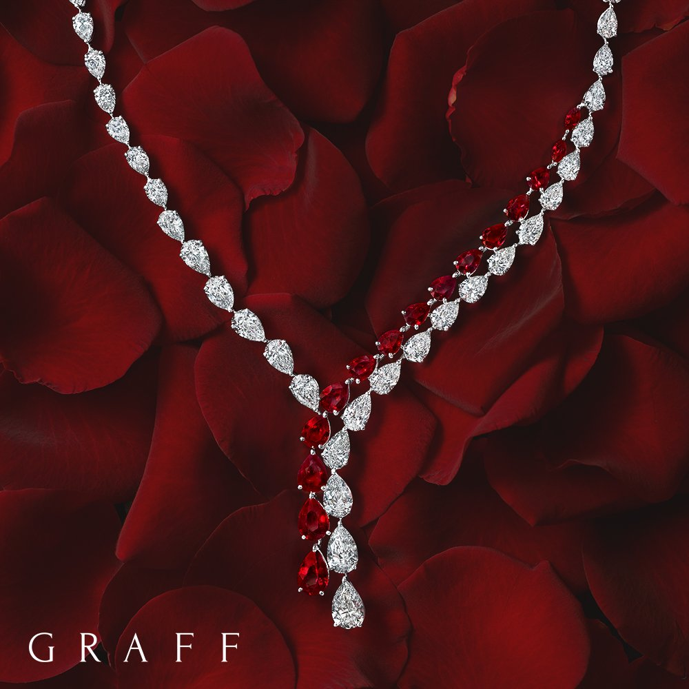 A delicate trail of 36cts of diamonds are lovingly entwined with over 17cts of rubies in this one-of-a-kind necklace https://t.co/wrGWhUL3Fs