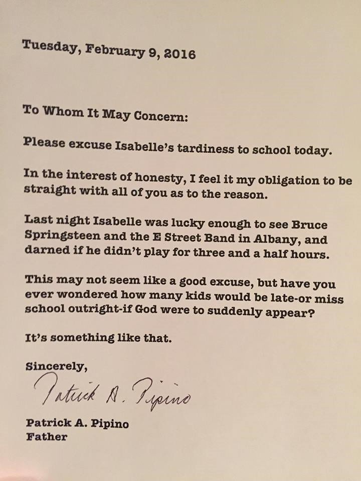 New York Father Patrick Pipino Writes Letter To Excuse His Daughter