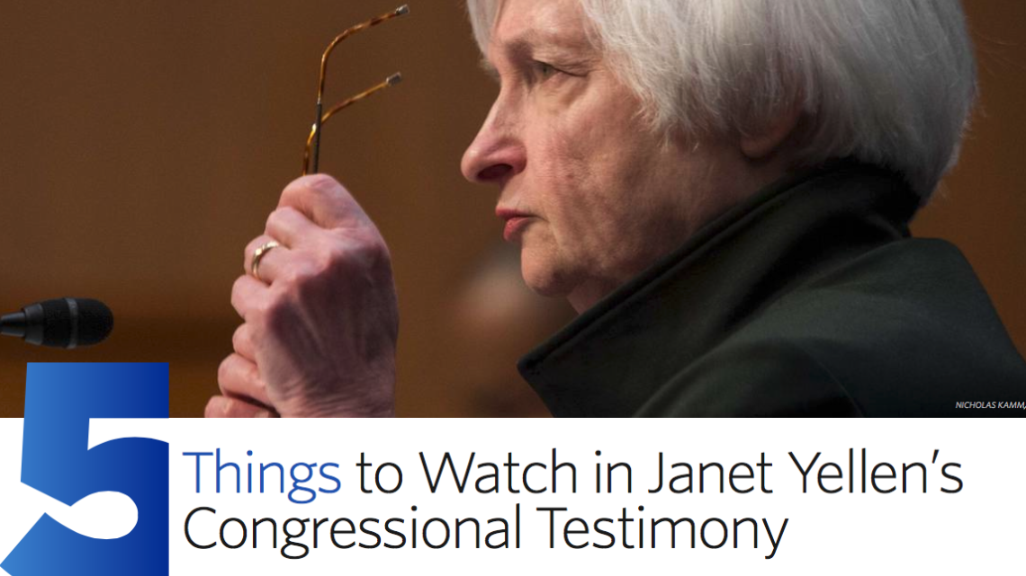 Here are five things to watch as the Fed's Janet Yellen testifies on Capitol Hill https://t.co/09iU9GX7DL https://t.co/oeXHsXffpk