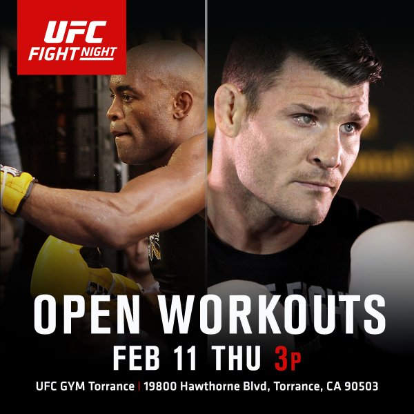 SoCal #ufc fans, play hooky with us, @spideranderson & @bisping for #UFCLondon's Open Workouts. #WeAreUFCGYM https://t.co/HSRuLT2Xc1
