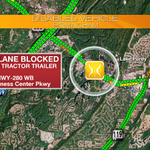 HWY-280 WB: Right lane blocked!! Drive safely. #Caution #Birmingham #RealTimeTraffic42 @WIAT42 https://t.co/hRq9g00iou