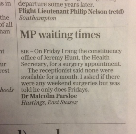 Ace letter in the Telegraph: shouldn't @Jeremy_Hunt practie what he preaches? https://t.co/vJNN4J7QtK