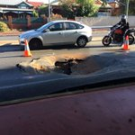 Work van has been towed to reveal massive hole in the ground after water main burst this am in North Perth #abcnews https://t.co/NK6ooCWukC