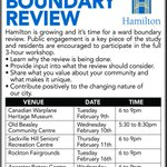 Tonight in Mount Hope: Learn about Hamiltons Ward Boundary review & how you can get involved. #HamOnt #HamOntWBR https://t.co/L3JCmg8ncn