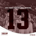 Aggies are No. 13 in this weeks USA Today Coaches Poll! See you this Thurs. @ 6pm when we take on Mississippi State https://t.co/iam81XgGB0