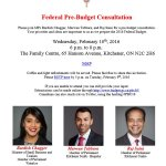 Please join us tomorrow for a Pre-Budget Consultation in Kitchener. Email RSVP to Bardish.Chagger@parl.gc.ca. #PBC16 https://t.co/QpFcOIJnqk