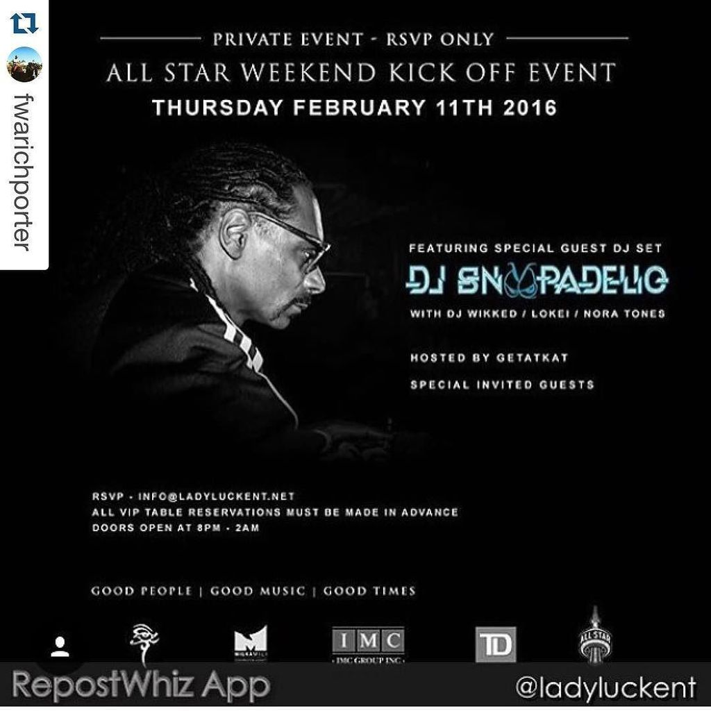 #Repost @fwarichporter with @repostapp. ・・・ !???????????? NBA ALL STAR WEEKEND TORONTO x DJ SNOOPADELIC live on tha 1s N 2s … https://t.co/98LPxLhplm