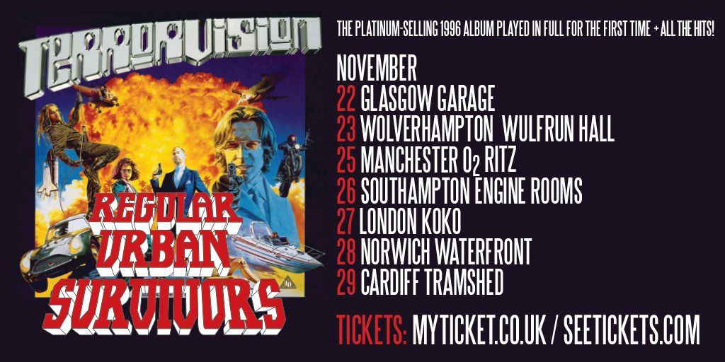Book now for our Nov tour celebrating 20th anniversary of Regular Urban Survivors! Tickets: https://t.co/jiBpO6nfb7 https://t.co/jUjzN8zZ0h